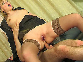 Lusty business woman getting her buns widen with boner in sexy anal session