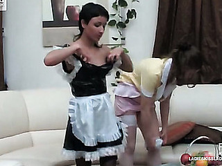 Sizzling hot French maids preferring strap-on fucking in all directions their usual chores