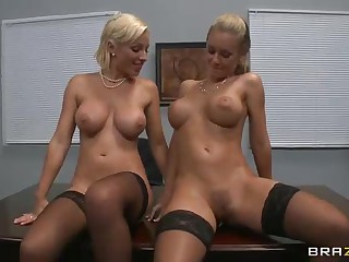 Busty office whores Nicole Aniston with an increment of Lexi Gulp