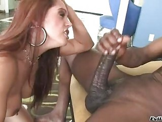 Randy brunette in thong rides hard dark club on couch