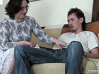 Hungry for meat mommy going for a bulge directing a guy