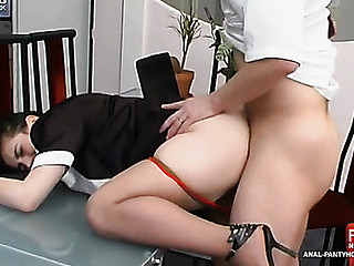 French maid in enhancing hose widening her butt cheeks in anal heaven on earth