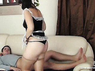 Senior French maid in brief uniform luring a lascivious lad into hawt screwing