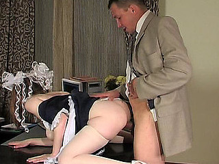 Transmittable looking French maid cleaning rendezvous plus getting nailed at the end of one's tether the old PHD