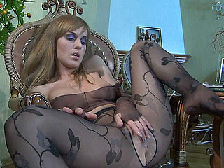 Kinky honey wetting her crotchless fashion tights and watch-thru pantyhose top
