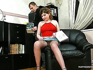 Greta&Adrian videotaped whilst pantyhosing