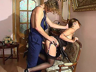 Black-stockinged honey compulsory into screwing by a lusty nylon avid plumber