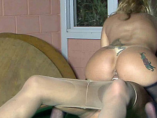 Dolled-up sheboy round a satin corset and barely there meerschaum wazoo-fucking a girl