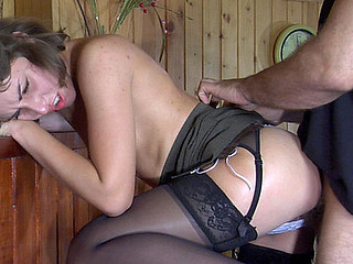 Sex-eager hottie in lacy black stockings hikes up her petticoat for schlong invasion