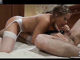 Sensual hotty in white stockings with a satin garter banged by a nylon junky