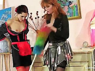 Spicy chicks in soft nylons adoring role plays with take up with the tongue-a-love button action