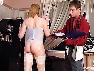 Awesome chick in sparkle nylons getting her tasty fur pie probed and pushed