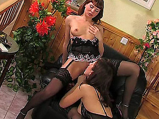 Confess b confront in black secretaries trying whilom corsets and stockings for muff lapping