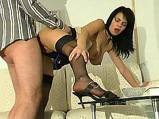 Nasty dark brown makes a client hawt to trot with her black stockings and heels