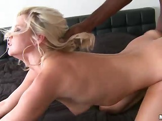 Hot blonde milf Anikka Albright takes thick dark pole