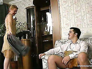 Aged blond getting her old snatch licked and dicked hard by a sissy man