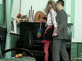 Blonde sissy guy in female raiment getting butt penetrated in every which way