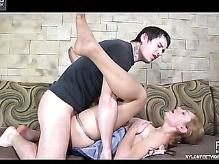 A guy licking his way from nyloned feet to impure cleft aching for hardcore finale