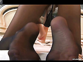 Amelia showing her nylon feet