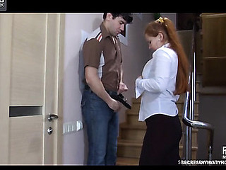 Megan&Jack office hose sex action