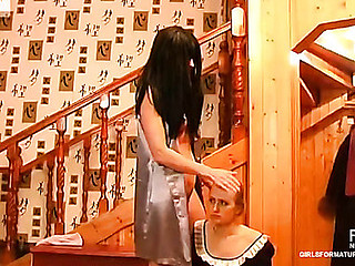 Cute French maid pulls up her petticoat attending her all sexed up elder domme