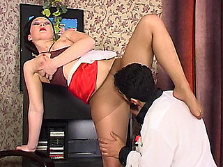 Lascivious French maid flashing her yummy nylon feet in front of horny guy