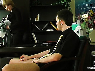 Perverted sissy guy getting down to frantic a-hole-fucking thrill in the office