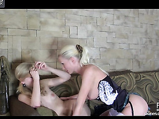 White-stockinged golden-haired initiates a blindfolded gal come into possession of lesbo sorority