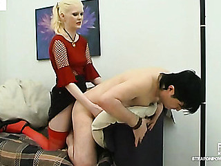 Compliant chap sucking strap-on in advance of from-behind frenzy with a blondie