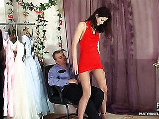 Kinky policeman willingly inspecting pantyhosed bawdy cleft with his unbending pole