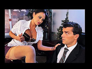 Is Christmas eve and Ramon is about to go home to celebrate. Claudia, his boss shows up with more work for him to finish right away. Ramon is not glad but all this is just a scam to pressure him. Claudia starts to ask very intimate questions about his sex life. Felling uncomfortable, Ramon tries to leave but that babe threatens him and ask him to fuck the shit out of her or loose his job.