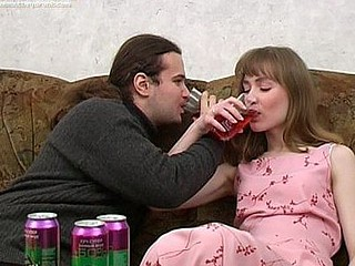 Ivan and Nelly are enjoying wine coolers that are made specifically to get a slut drunk and the playgirl drinks down as much as that guy gives her. The more this chab pours the more that babe drinks and when this chab peels a banana for her to eat this babe can't assist but oblige his nasty desires. When a playgirl chews a phallic fruit in such a lusty manner it's bound to get a guy all slutty and aroused. A little more liquor and this guy's ready to make his move with this sexy slut. That Babe gives him head and then this guy pounds her fur pie missionary and doggy style. It's great drunk hardcore sex for sure