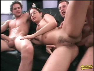 Tweak in glasses hardcore threesome with facual cumshots