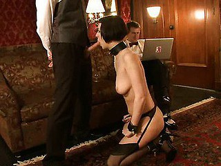 Hot sexy babe's sexy helpers drilled and punished surrounding bondage.