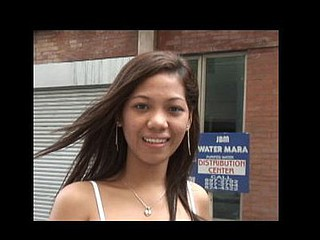 Shy-acting Filipina picked on touching on street yon hammer away town then turns into wang cacodemon