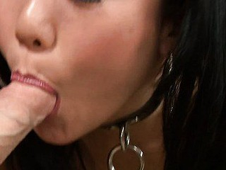 Exotic Asian mistress Niya Yu mixes leather and lace to get her fellow rock hard.  This Babe expertly sucks him off, jacking him off with her tiny hands and the right amount of suction.  That Babe takes his cum all over her face with a large smile.  Now this is a girl who can't live without her job.