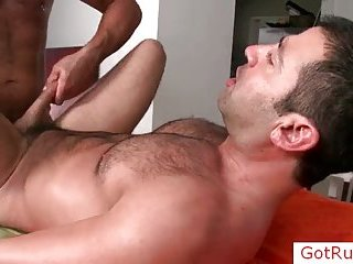 Bushy stud getting anus fucked hard
