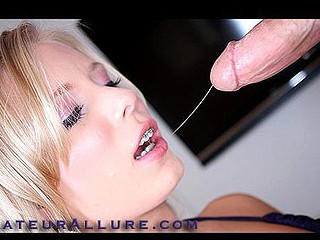 Blond Legal Age Teenager Wearing Braces Gobbles Down Cum
