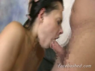 Amateur girl gagging rough blowjob that only gets more brutal