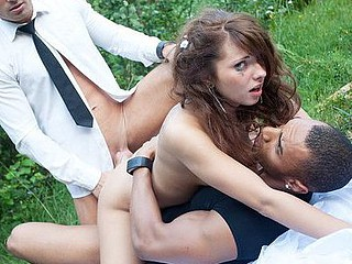 Gang gangbang in fresh air with slutty bride