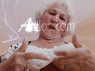 Big titted grandma plays with her pointer sisters and her old cunt