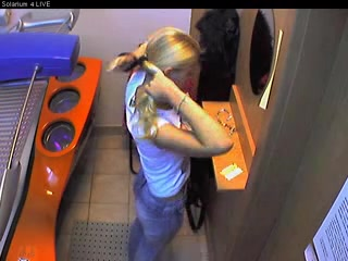 Hidden cam in a tanning bed room.