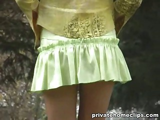 This kinky voyeur with the cam has an eye for lustful chicks who don't wear any pants under their skimpy skirts when going out! So her followed the honey and closely filmed her upskirt with the perfect split peeking out!