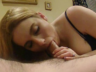Lascivious hubbie can't wait for his yearly birthday present cock suck. That guy films it to make it last longer as she licks it all around and feels his throbbing veins on her tongue.