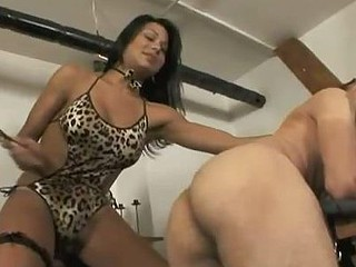 Hot threesome with Sabrina Vienna in a dominatrix-bitch problem with her new affiliate Andreas. Await how this comely transex play with their serf