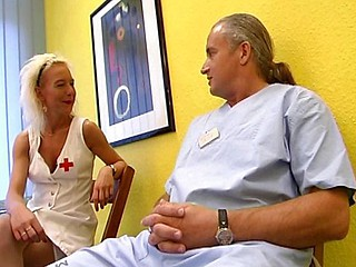 Hot blonde nurse receives it on with an old dirty doctor on the floor
