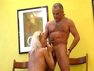 Hot blonde mindfulness receives it overhead with an old filthy doctor overhead the floor