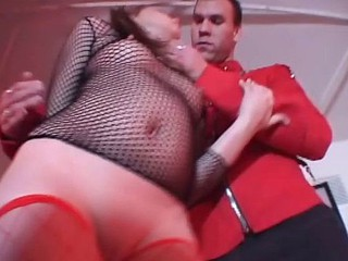 Angel-faced whore in mesh lingerie sucks off a massive jock