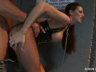 Busty gloryhole slut Kortney Kane on a leash