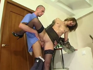 Horny russian mummy seduces juvenile boy for xxx fucking